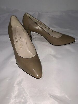 4c7338cb753ff BRUNO MAGLI WOMEN'S Taupe Tan Leather Pointy Toe Heels Pumps Size ...