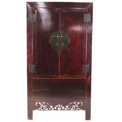 Antique Chinese Dark Elm Wardrobe Cabinet Carved Fu Dog Apron 44″ W x 80″ T