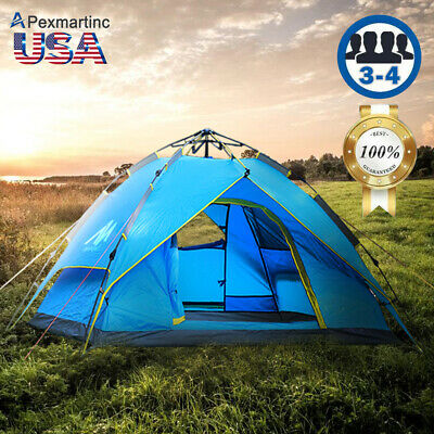 4-5 Person Dome Family Camping Tunnel Tent Waterproof Shelter Hiking Travelling