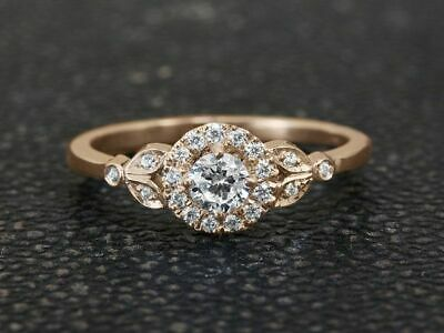 14K Yellow Gold Over Round Cut 2Ct Diamond Engagement Wedding Ring All Size