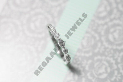 Round cut brilliant eternity band 1ct wedding ring solid 14k white gold Over