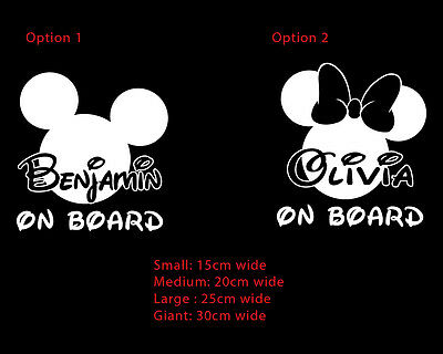 Mickey Minnie Mouse Custom Personalised Baby on Board Sticker Decal