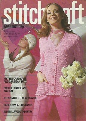 Vintage Stitchcraft Magazine April 1971 - Knitting, Crochet & Embroidery Pattern