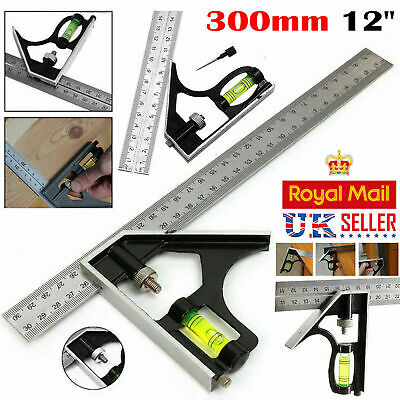 "300mm (12"") Adjustable Engineers Combination Try Square Right Angle Ruler Set UK"