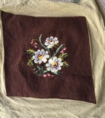Antique Vintage Chair Seat Cover Needlepoint Embroider Wool Brown Floral Flowers
