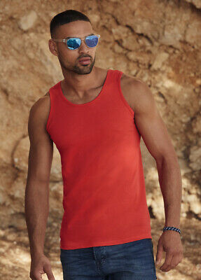 Mens Plain Red Yellow Polyester Breathable Wicking Athletic Sports Tank Top Vest