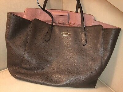 d39273809e85 EXCELLENT PRE-OWNED GUCCI swing tote bag leather Gray Brown Pink ...