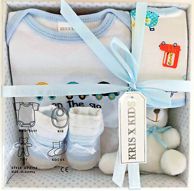 4 Piece 0/3 Month New Baby Boy Blue Car Gift Box Set Baby Shower