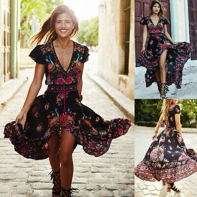 Summer Women Beach Boho Long Maxi Evening Party Dress Floral Sundress Plus Size