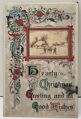 Christmas Greetings Art Nouveau Style Decorative to Smithsburg Md Postcard E8