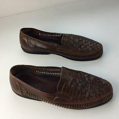dc775424bcb Deer Stags Men s Woven Leather Loafer Size 10.5 M Brown Huaraches Rubber  Soles
