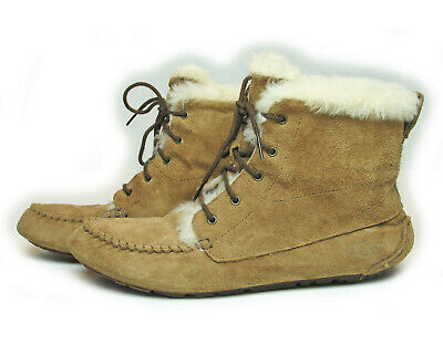 2df40d599c1 UGG AUSTRALIA LACE-UP CHICKAREE Leather Shearling Bootie Slipper Moc  Chestnut 10