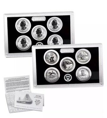 2018 S Silver Reverse Proof Quarter Set of 5 Coins - CoA & Box w/ purchase of 2