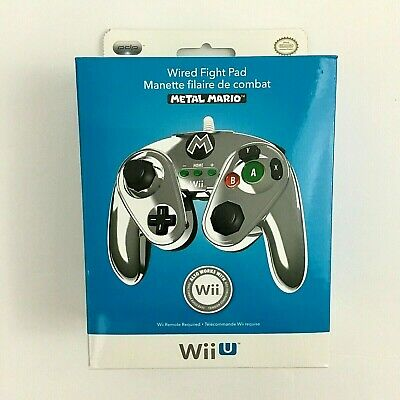 Nintendo Wii U Official METAL MARIO Wired Fight Pad Classic Controller PDP