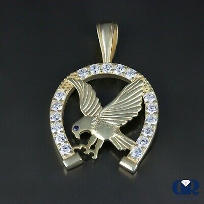 1.36 Ct Diamond Eagle Pendant Necklace In 14K Solid Yellow Gold