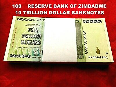 100 x ZIMBABWE 10 TRILLION DOLLAR UNC BANKNOTE CURRENCY AA 2008 100 TRILLION SER