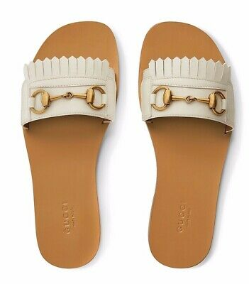 dffdc4643358 Gucci Varadero White Horsebit Gold Fringed Slide Mule Slipper Flat Sandal 38
