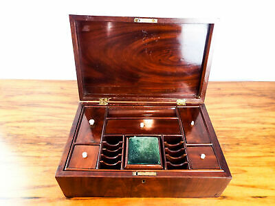 Antique English Mahogany Wood Sewing Box Jewelry Box Victorian Travel Case 1870s