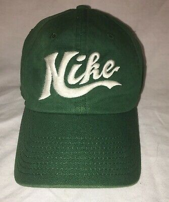8b17d0a09a9 Vintage NIKE Swoosh Logo Spell Out Snapback Hat Cap 90s Green Golf Dad Acg