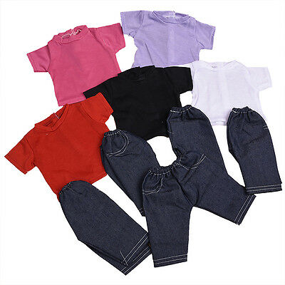 Handmade Fashion Doll T-shirt + Pant Clothes Suit For 18 inch Doll Children L7H7