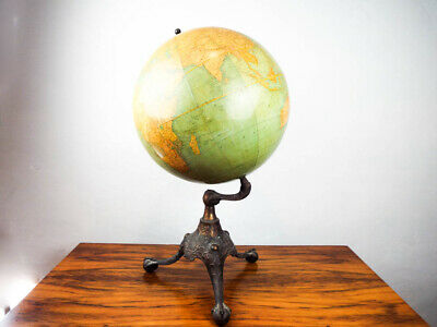 "Antique Rand McNally 18"" World Terrestrial Globe 1908 Rare Eagles Clawfoot Base"