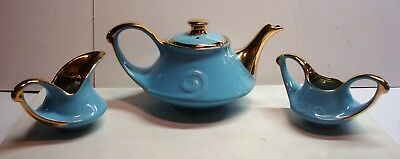 Pearl China Co. - Sky Blue/Gold - 3 Piece Tea Set - Hand Decorated - 22 Kt Gold
