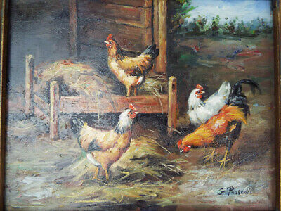 Vintage Signed Oil Canvas Painting Farmyard Art Rooster Hens Chickens G Passett