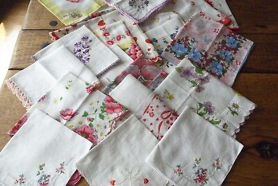 27 Vintage Handkerchiefs Hankies Floral Embroidered Hearts Xmas Some Unused