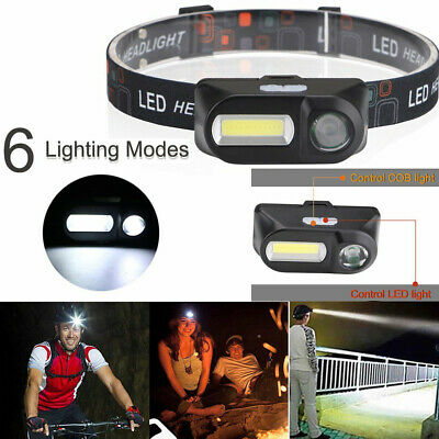 Outdoor USB Rechargeable 18650 COB LED Headlamp Headlight Head Torch Flashlight