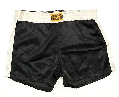 Rawlings Satin Boxing Shorts Vintage USA Made 50S 60S SPORT Athletic Two Tone