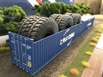 1/50 Container CMA 40' Open Top With Tyres