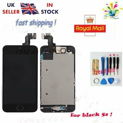 For iPhone 5S LCD Touch Screen Digitizer Home Button Camera Black Replacement UK
