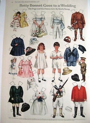 "1918 Paper Dolls by Sheila Young ""Betty Bonnet Goes to a Wedding"" - Uncut"