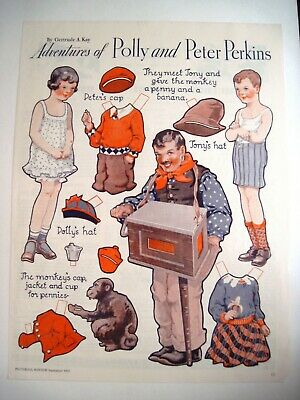 "1933 Paper Dolls by Gertrude A. Kay ""Adventures of Polly & Peter Perkins"" Uncut"