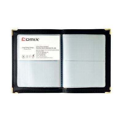 New Comix Office BUSINESS NAME CARD HOLDER BOOK (Holds 64 cards) - BLACK - NU64