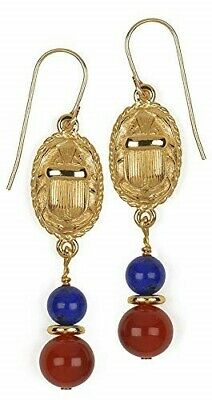 Egyptian 2-sided Scarab Earrings with Lapis & Carnelian,  Museum  Store Collect