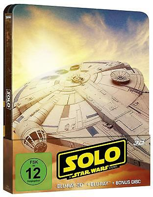 Solo - A Star Wars Story (3D + 2D Blu-ray + Bonus Disc Steelbook) NEW