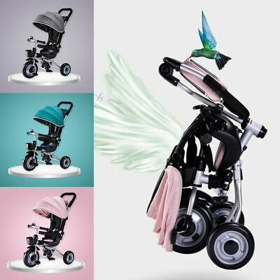 Deluxe Foldable Kids Tricycle Baby Toddler Bike Trike w/ Canopy Parent Push New