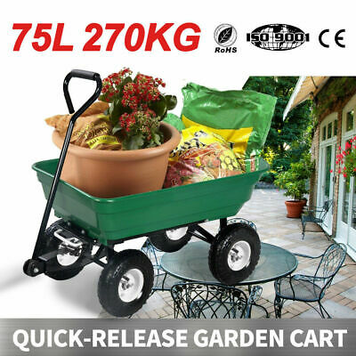 Garden Cart 75L 270kg Tipping Bed Trolley Wagon Wheelbarrow Pull Gardeon