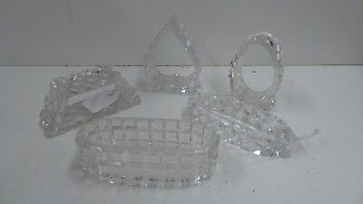 5 Vintage Cut Crystal Napkin Rings  Assorted Shapes