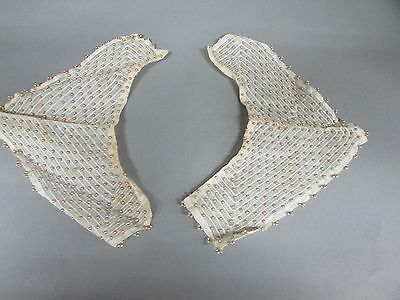 Pair Antique Victorian Hand Stitched Embroidered Beaded Collars