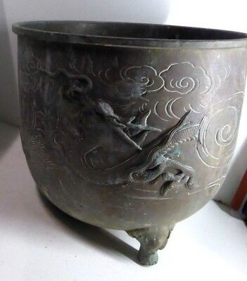 Large Impressive Antique Cast Brass Chinese Dragon Pot Vase Hand Made Footed Urn