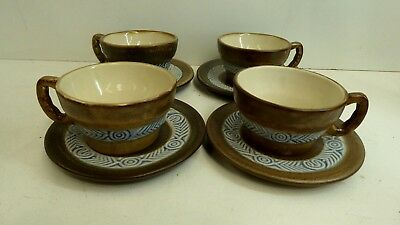 Hb Quimper 4 Pottery Cups And Saucers Vintage French Ceramics