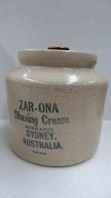 Australian Pottery Stoneware Pot Zar-Ona Sydney Medicated Shaving Cream Bendigo