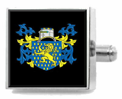 Select Gifts Mulliss England Heraldry Crest Sterling Silver Cufflinks Engraved Message Box