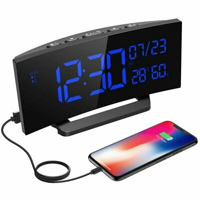 Digital Alarm Clock Projection Bedroom LED Dual Alarms SNOOZE USB Charging Port