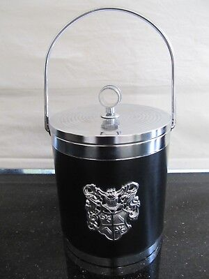 Vintage Rare Ice Bucket Black Silver With Heraldic Crest Detail Excellent Cond