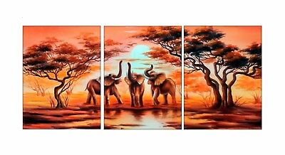 Framed Canvas Wall Art 3 Pcs African Elephant Painting Picture Print Home Decor