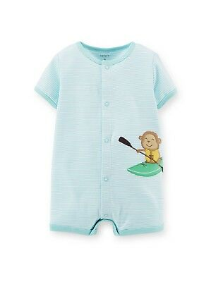 Carter's baby boy short snap up romper blue stripped with monkey appliqué NB-12M