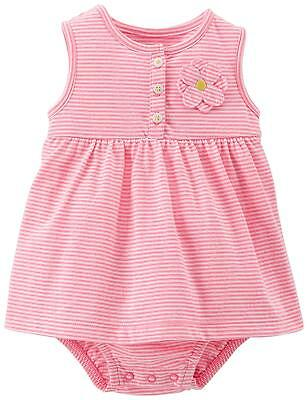 Carter's baby girl sunsuit dress romper pink stripes with flower 3M to 18M